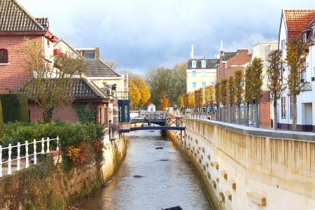 City canal in Valkenburg. Netherlands
