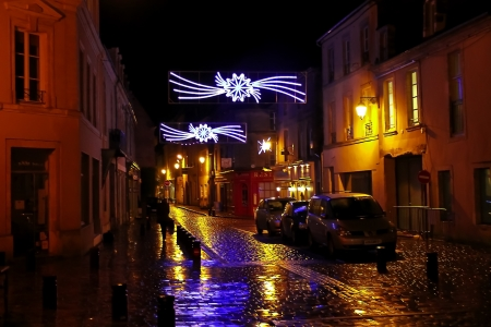Christmas night in Bayeux. Normandy, France