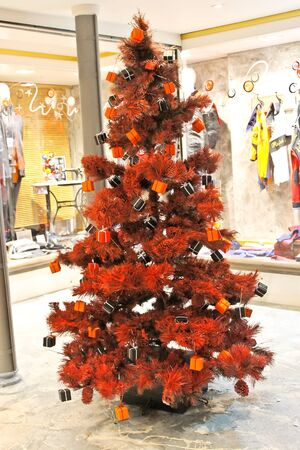 Christmas tree in a shop in Bayeux. Normandy. France