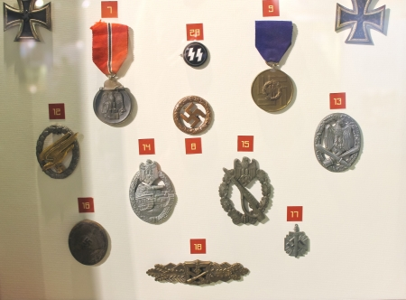 Exhibits at the Museum of the Battle of Normandy. . France. German orders, medals and insignia