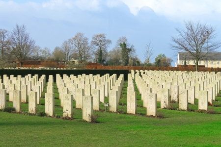 a memorial to fallen soldiers: Bayeux War Cemetery. Normandy, France
