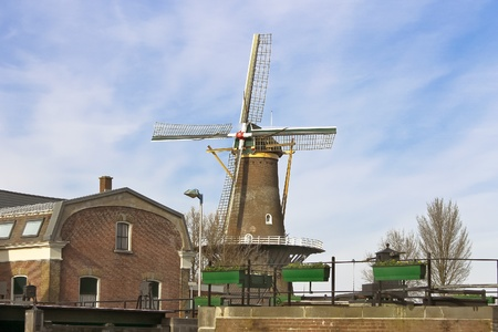 gorinchem: Windmill in the Dutch town of Gorinchem. Netherlands Stock Photo