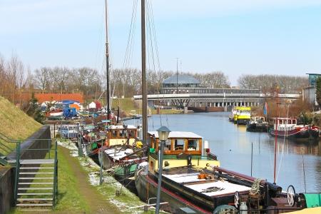 gorinchem: Pier and ship in Gorinchem. Netherlands Stock Photo
