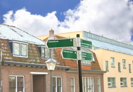 gorinchem: Road sign in town Gorinchem. Netherlands Stock Photo