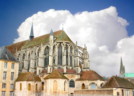 chartres: Chartres Cathedral at the background is overcast. France Stock Photo