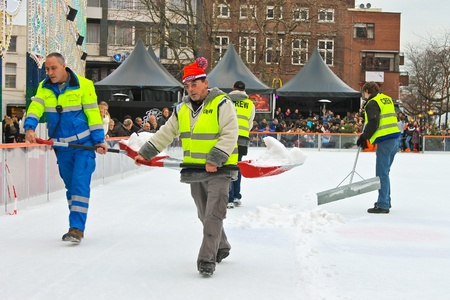 eindhoven: Workers removes snow on the rink in the Dutch city of Eindhoven. Netherlands