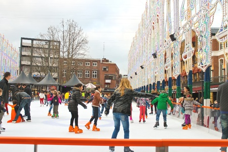 People skate on the rink in the Dutch city of Eindhoven. Netherlands Stock Photo - 18537094