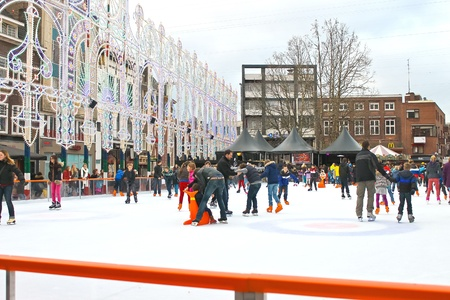 eindhoven: People skate on the rink in the Dutch city of Eindhoven. Netherlands Editorial