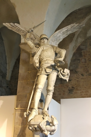 Statue of Archangel Michael in the abbey of Mont Saint Michel. Normandy, France