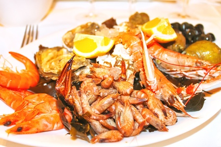 Dish with seafood in a french restaurant restaurant Stock Photo - 19143794