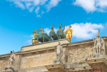 carrousel: Triumphal Arch (Arc de Triomphe du Carrousel) at Tuileries. Paris, France