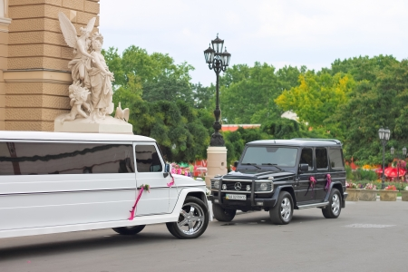 Wedding cortege near the entrance to Odessa Opera House. Ukraine