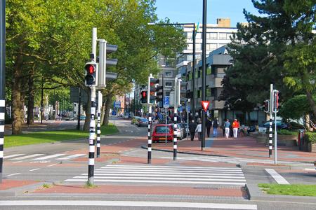 dordrecht: DORDRECHT, THE NETHERLANDS - SEPTEMBER 28: Employed traffic lights at the   crossroads on September 28, 2013 in Dordrecht, Netherlands.
