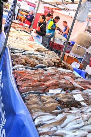 DORDRECHT, THE NETHERLANDS - SEPTEMBER 28: Selling seafood on the market on September 28, 2013 in Dordrecht, Netherlands