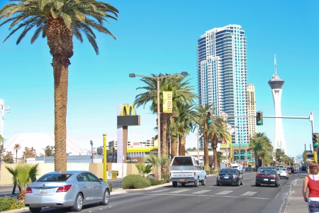 LAS VEGAS, NEVADA, USA - OCTOBER 20 : Cars on the road in the central part of town on October 20, 2013 in Las Vegas, Nevada.