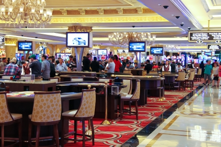 LAS VEGAS, NEVADA, USA - OCTOBER 20 : Casino in the Palazzo Hotel on October 20, 2013 in Las Vegas, Palazzo opened on December 30, 2007. One of the most luxurious hotels in Las Vegas