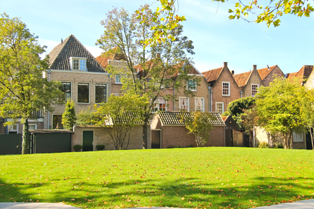 dordrecht: The lawn in front of houses in the Dutch city of Dordrecht  Netherlands