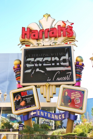LAS VEGAS, NEVADA, USA - OCTOBER 20 : Harrah's Hotel and Casino Sign on October 20, 2013 in Las Vegas, Harrahs casino features over 1,200 slot machines, 80 table games, Keno, Bingo and a sports book.