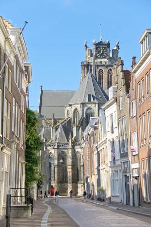 dordrecht: DORDRECHT, THE NETHERLANDS - SEPTEMBER 28: Grote Kerk church on September 28, 2013 in Dordrecht, Netherlands . Grote Kerk church, the main attraction of Dordrecht. Editorial