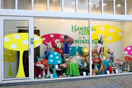 GORINCHEM, THE NETHERLANDS - MARCH 30 : Show-window of shop of goods for kids on March 30, 2012 in Gorinchem. Netherlands
