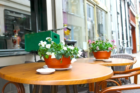 Flowers on the tables of street cafes. Gorinchem. Netherlands  photo