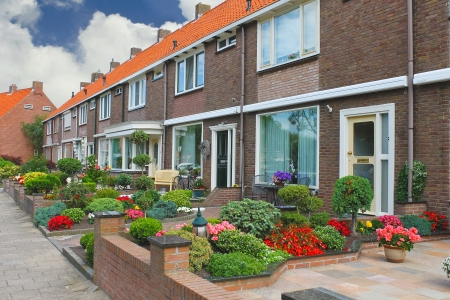 Small garden in front of the Dutch house. Netherlands