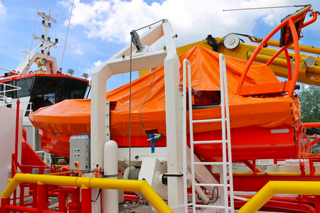lifeboat: Lifeboat on a modern ship
