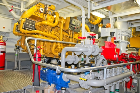 motors: The power plant in  ships engine room