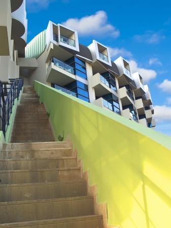 building external: External staircase modern building.
