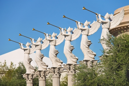 LAS VEGAS, NEVADA, USA - OCTOBER 21, 2013 : Statues of cherubs in Caesars Palace   in Las Vegas, Caesars Palace hotel opened in 1966 and has a Roman Empire theme.