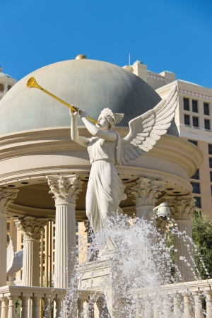 LAS VEGAS, NEVADA, USA - OCTOBER 21, 2013 : Statue of cherub in Caesar's Palace in Las Vegas, Caesar's Palace hotel opened in 1966 and has a Roman Empire theme.