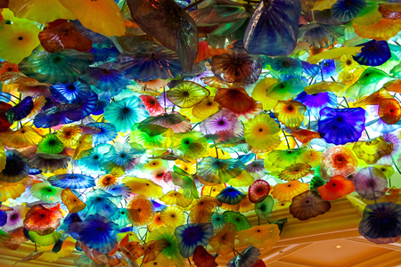 LAS VEGAS, NEVADA, USA - OCTOBER 21, 2013 : Glass flowers on the ceiling in Bellagio Hotel in Las Vegas. The composition consists of 2,000 glass flowers by sculptor Dale Chihuly