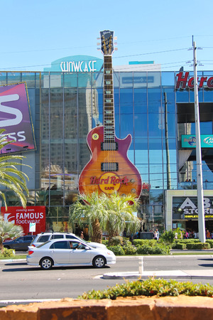 LAS VEGAS, NEVADA, USA - OCTOBER 21, 2013 : Hard Rock Cafe in Las Vegas. The first Hard Rock Cafe opened in 1971 in London