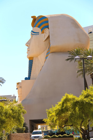 LAS VEGAS, NEVADA, USA - OCTOBER 21, 2013 : Sphinx near Luxor Hotel and Casino in Las Vegas. Theme hotel Egypt and it was opened in 1993