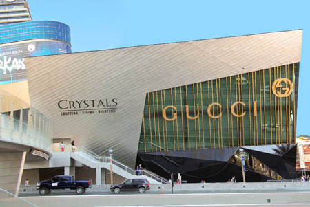 LAS VEGAS, NEVADA, USA - OCTOBER 21, 2013 : Crystals mall in Las Vegas. Shopping and entertainment center 'Crystals', is part of a huge complex 'MGM Mirage City Center'