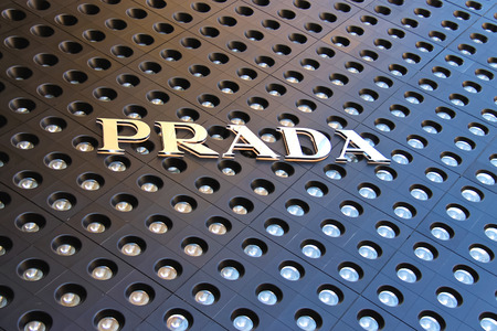 LAS VEGAS, NEVADA, USA - OCTOBER 21, 2013 : Trademark Prada in Crystals mall in Las Vegas. Operates under the brand name Prada significant number of stores in major cities around the world