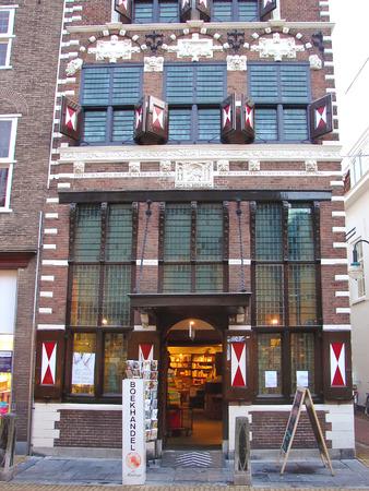 GORINCHEM, THE NETHERLANDS - FEBRUARY 16, 2012 : Bookstore in historic downtown of Gorinchem