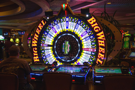LAS VEGAS, NEVADA, USA - OCTOBER 23, 2013 : Roulette Big Wheel at Treasure Island Hotel and Casino. This Caribbean themed resort has an hotel with 2,884 rooms