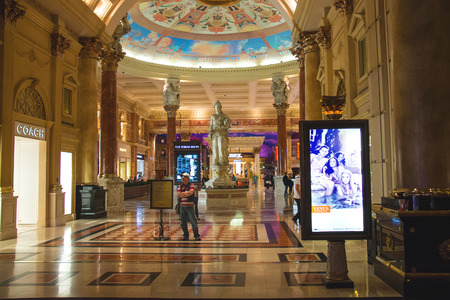 LAS VEGAS, NEVADA, USA - OCTOBER 23, 2013 : Lobby in Caesars Palace in Las Vegas, Caesars Palace hotel opened in 1966 and has a Roman Empire theme.