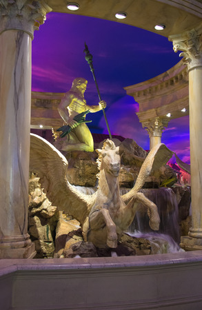 LAS VEGAS, NEVADA, USA - OCTOBER 23, 2013 :Fountain in Caesar's Palace in Las Vegas, Caesar's Palace hotel opened in 1966 and has a Roman Empire theme.