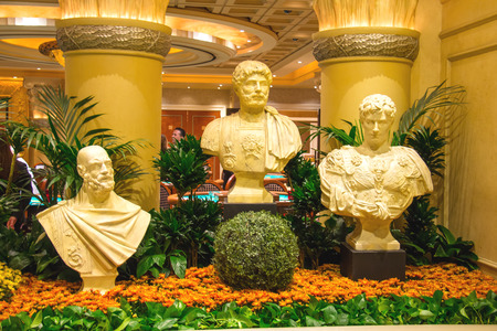 LAS VEGAS, NEVADA, USA - OCTOBER 23, 2013 : Statues in Caesars Palace in Las Vegas, Caesars Palace hotel opened in 1966 and has a Roman Empire theme.