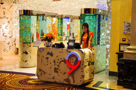 LAS VEGAS, NEVADA, USA - OCTOBER 23, 2013 : Beijing Noodle No. 9 - Chinese restaurant in Caesars Palace in Las Vegas, Caesars Palace hotel opened in 1966 and has a Roman Empire theme.