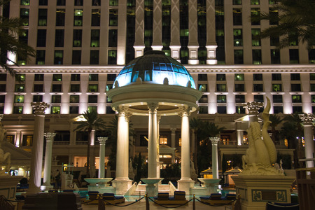 LAS VEGAS, NEVADA, USA - OCTOBER 23, 2013 : Swimming pool in Caesars Palace in Las Vegas, Caesars Palace hotel opened in 1966 and has a Roman Empire theme.