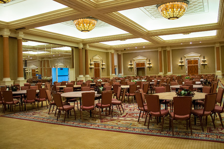 LAS VEGAS, NEVADA, USA - OCTOBER 23, 2013 : Conference hall in Caesars Palace in Las Vegas, Caesars Palace hotel opened in 1966 and has a Roman Empire theme.