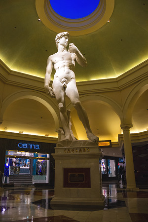 LAS VEGAS, NEVADA, USA - OCTOBER 23, 2013 : Statue in Caesars Palace in Las Vegas, Caesars Palace hotel opened in 1966 and has a Roman Empire theme.