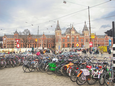 AMSTERDAM,THE NETHERLANDS - FEBRUARY 18, 2012 : Bicycle parking near the central railway station in Amserdam. Netherlands