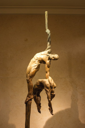 LAS VEGAS, NEVADA, USA - OCTOBER 25, 2013 : Exhibition of statues Cirque du Soleil artists in Las Vegas. Over 50 bronze sculptures of R. MacDonald are exhibited in O Theatre lobby at Bellagio hotel.