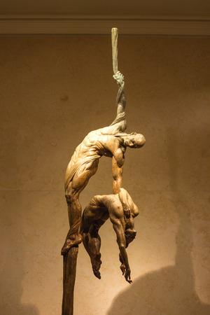 cirque du soleil: LAS VEGAS, NEVADA, USA - OCTOBER 25, 2013 : Exhibition of statues Cirque du Soleil artists in Las Vegas. Over 50 bronze sculptures of R. MacDonald are exhibited in O Theatre lobby at Bellagio hotel.