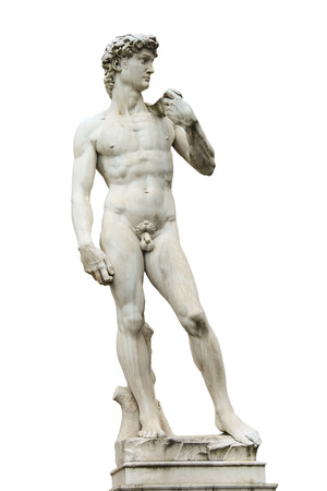 Statue of Michelangelos David front of the museum Palazzo Vecchio  . Florence, Italy