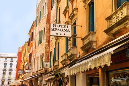 VENICE, ITALY - MAY 06, 2014: Facade of the hotel in Venice, Italy